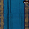 Silk Cotton Saree-Sky Blue and Blue with butta and Temple zari border