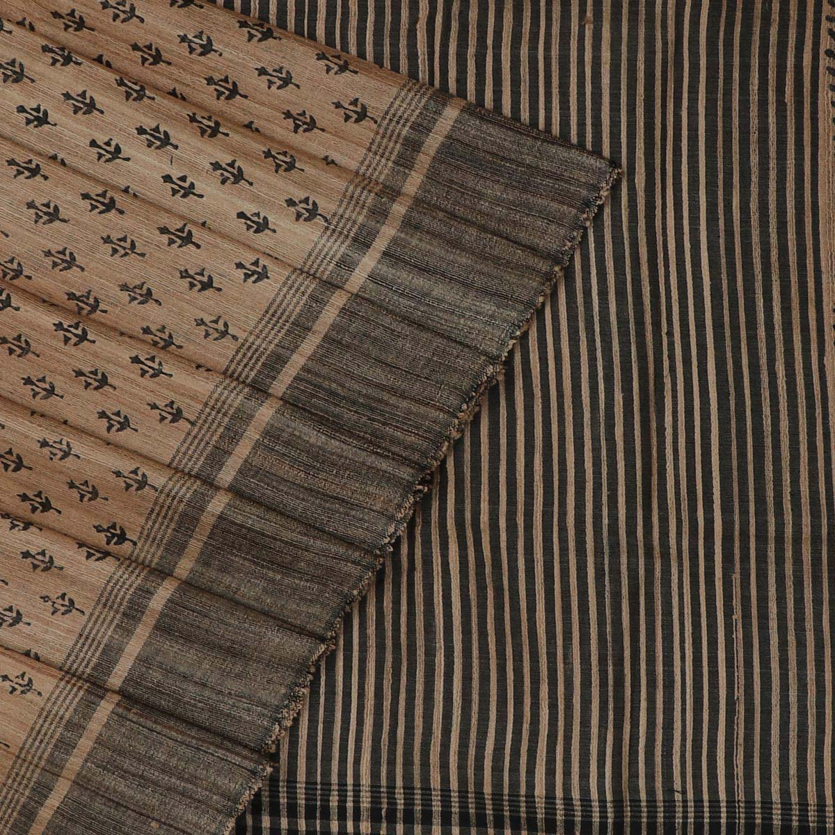 Pure raw silk Saree -Cream Color and Black with Block Print and simple border