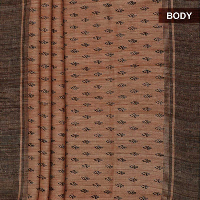 Pure raw silk Saree -Light Orange and Black with Block Print and simple border