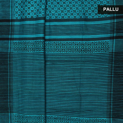 Pure raw silk Saree -Sky Blue and Black with Block Print and simple border
