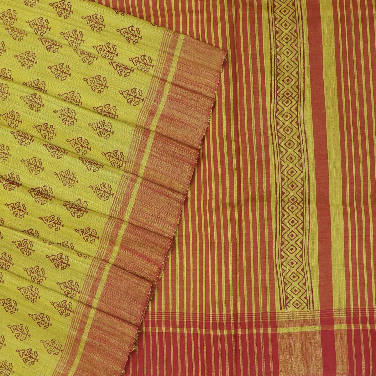 Pure raw silk Saree -Yellow and Red with Block Print and simple border