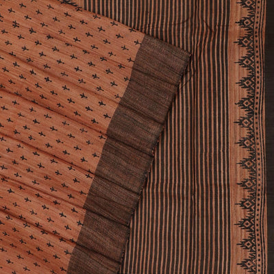 Pure raw silk Saree -Orange and Black with Block Print and simple border