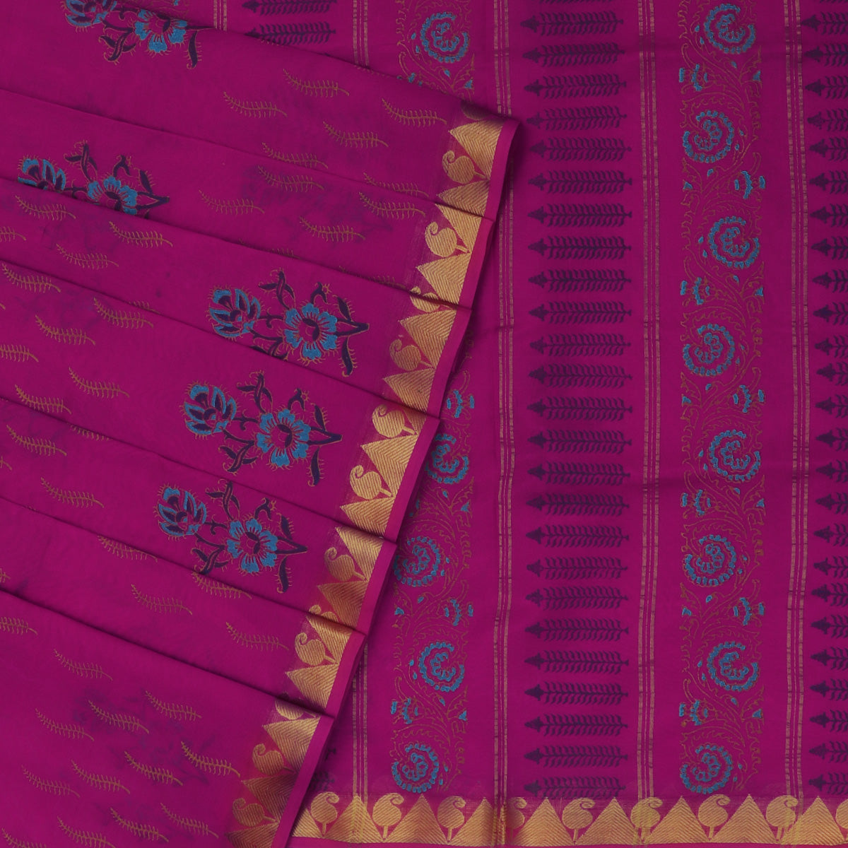 Printed Silk Cotton Saree Pink with Temple Zari border
