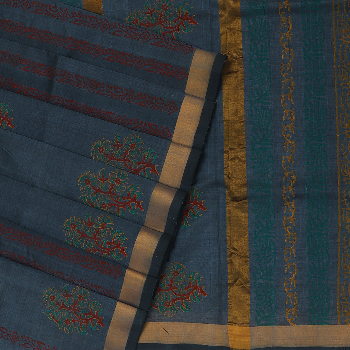 Printed Silk Cotton Saree Grey with Simple Zari border
