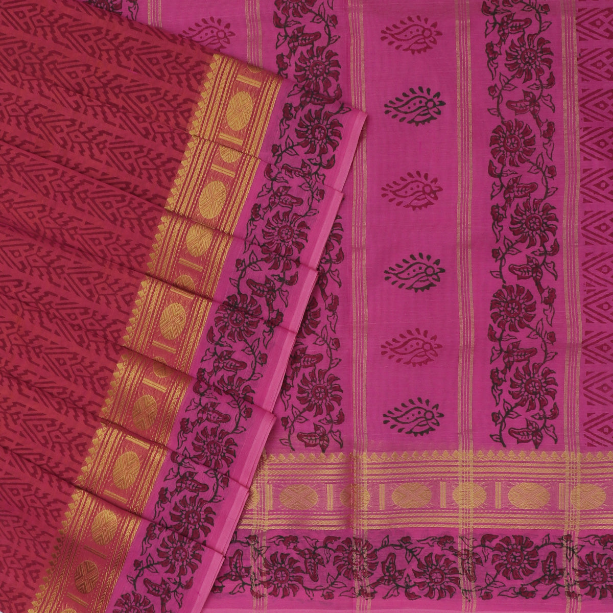 Printed Silk Cotton Saree Pink and Orange Dual shade with Rudraksha Zari border