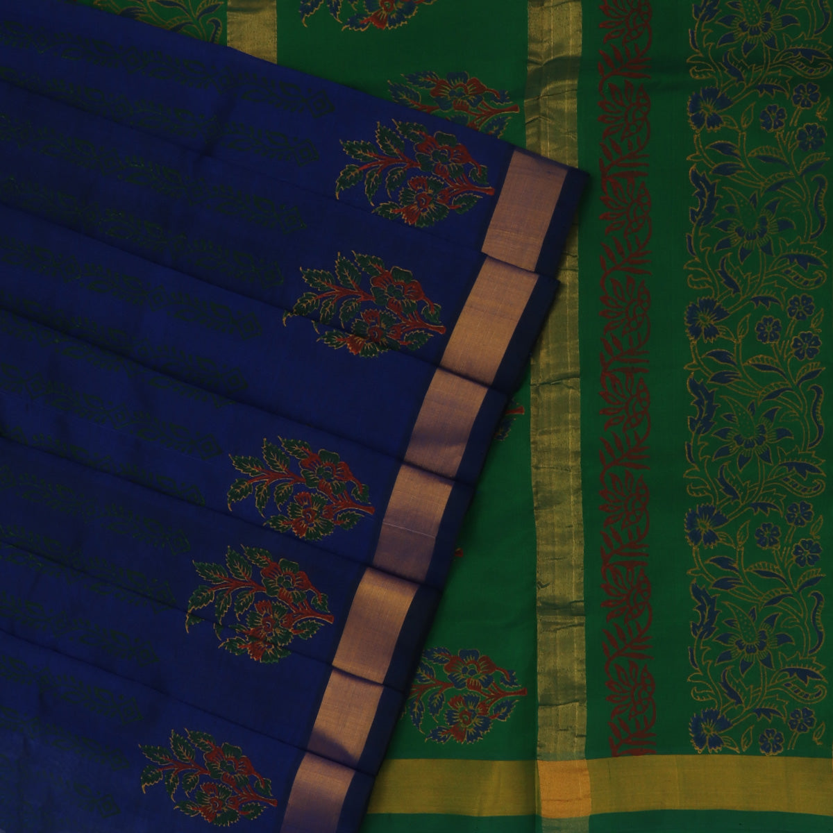 Printed Silk Cotton Saree Navy Blue and Green with Simple Zari border