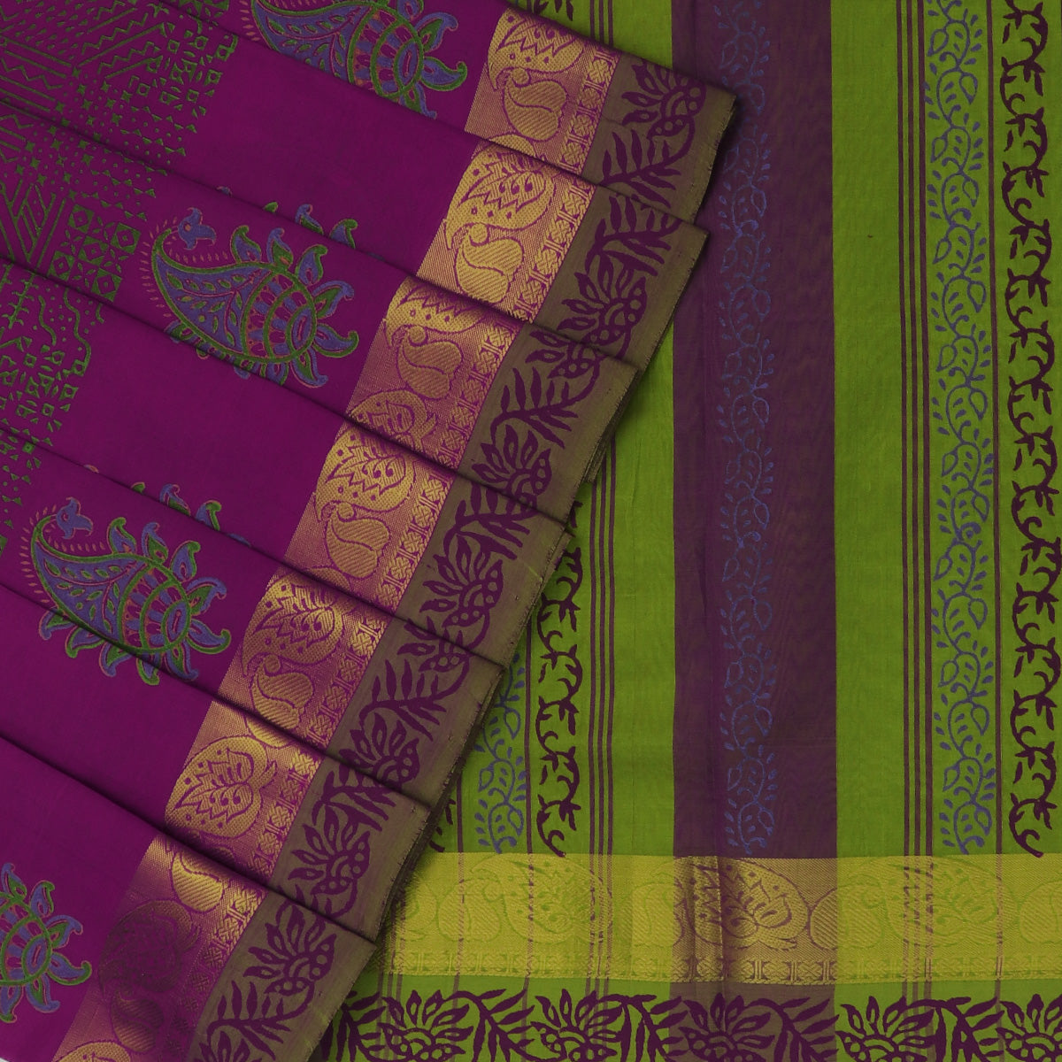 Printed Silk Cotton Saree dark Pink and Mehandi Green with Simple Zari border
