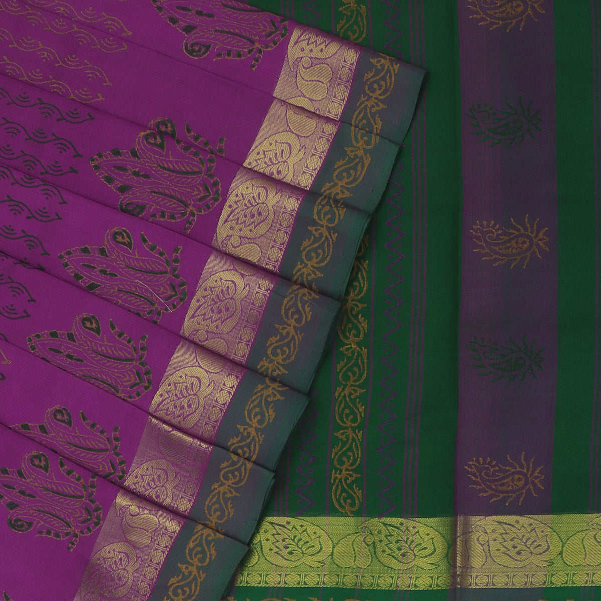Printed Silk Cotton Saree Violet and Green with Simple Zari border
