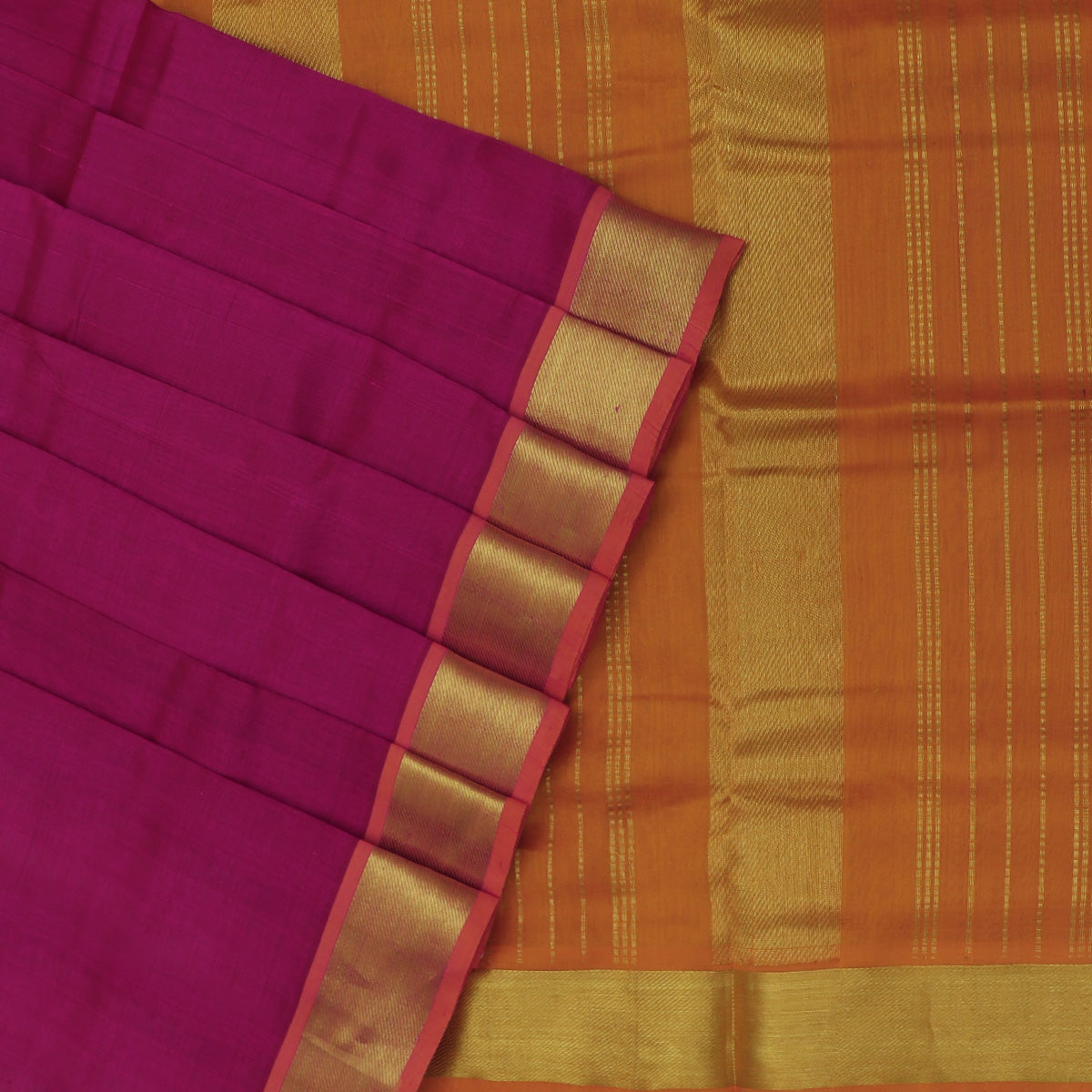 Silk Cotton Saree-Dark Pink and Honey Color with Bavanji Zari border
