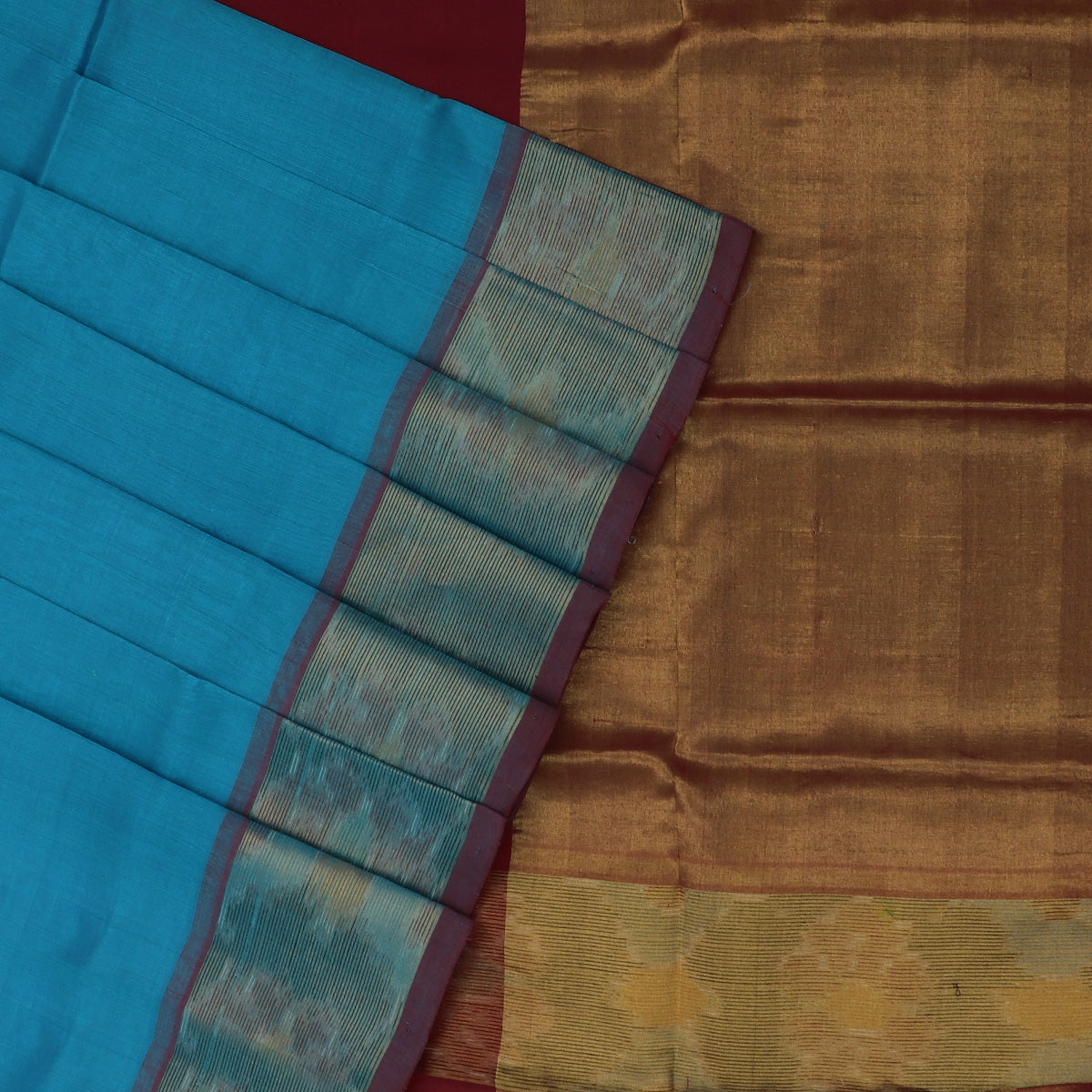 Silk Cotton Saree -Sky Blue and Maroon with Ikkat border