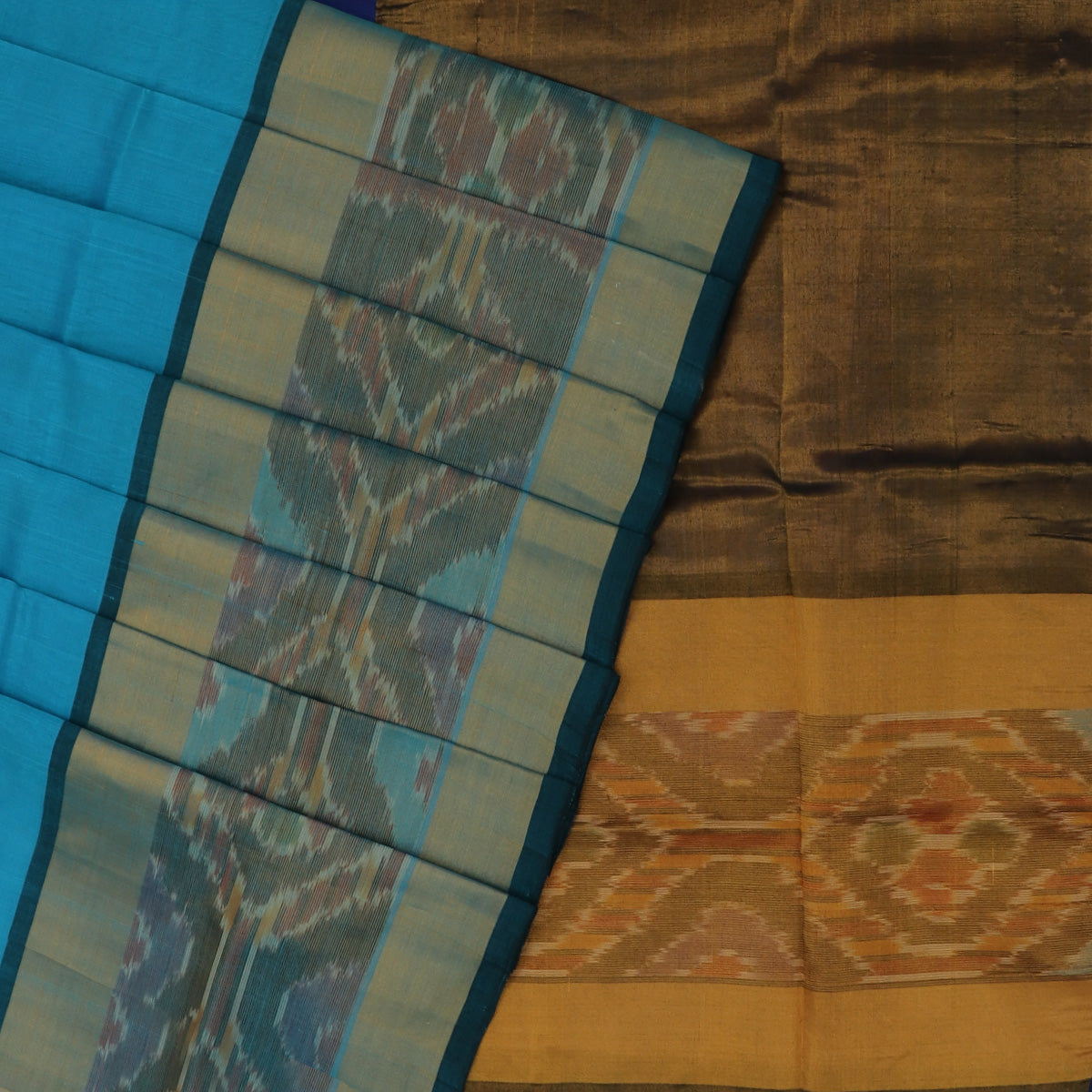 Silk Cotton Saree -Sky Blue and Blue with Ikkat border