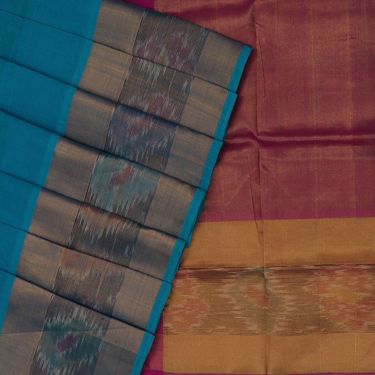 Silk Cotton Saree -Sky Blue and Dark Pink with Ikkat border