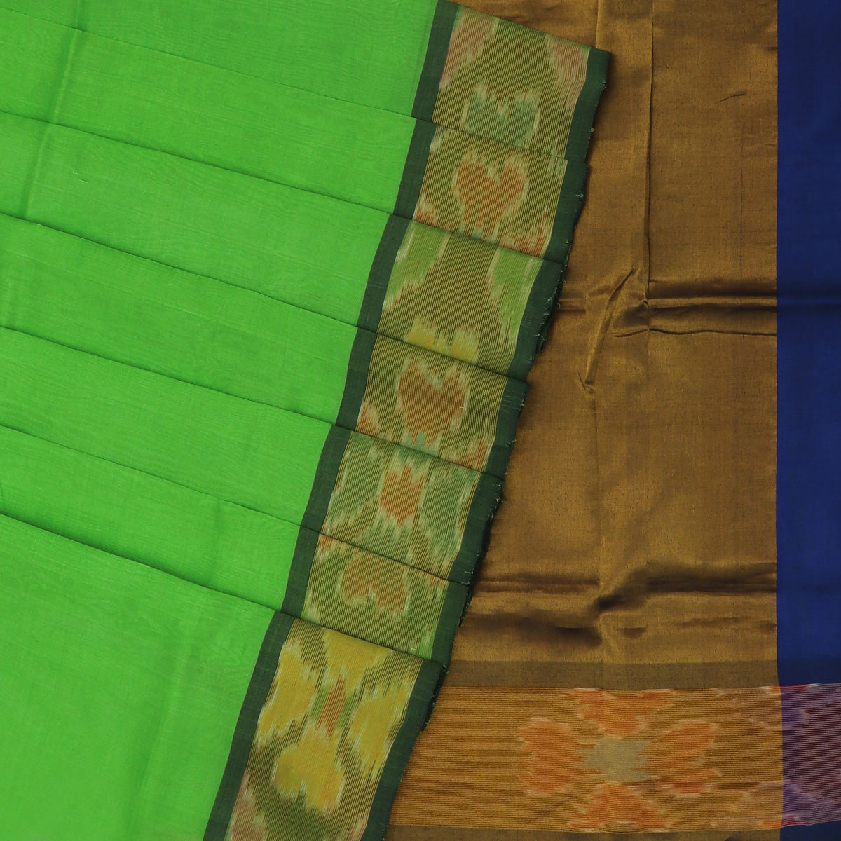 Silk Cotton Saree -Parrot Green and Blue with Ikkat border