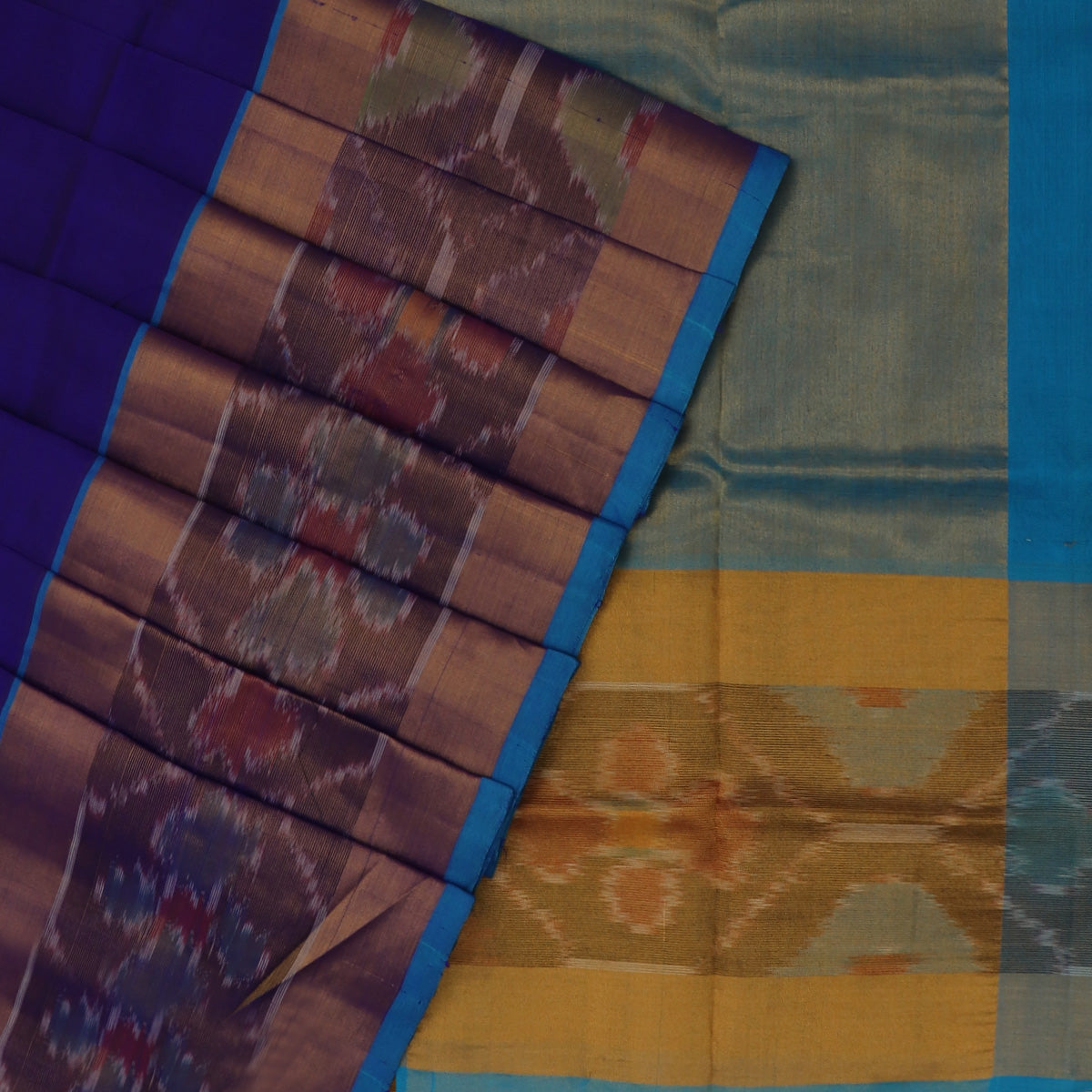 Silk Cotton Saree -Blue and Sky Blue with Ikkat border