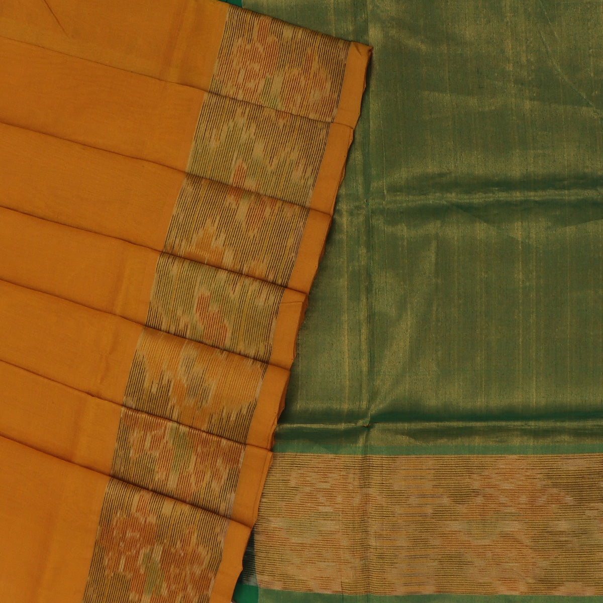Silk Cotton Saree -Mustard and Dark Green with Ikkat border