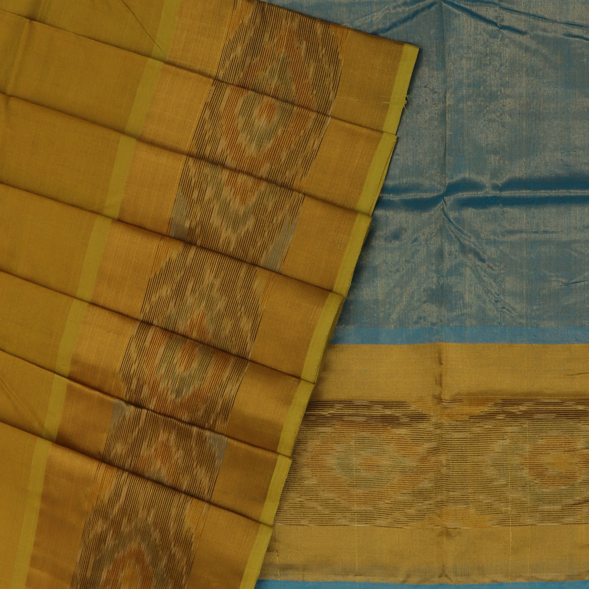 Silk Cotton Saree -Mixed Greenish Yellow and Sky Blue with Ikkat border
