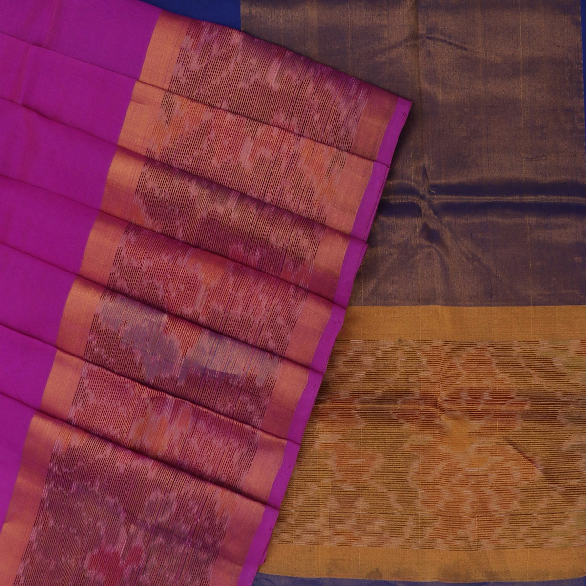 Silk Cotton Saree -Pink and Blue with Ikkat border