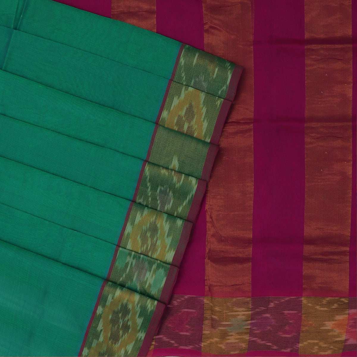 Silk Cotton Saree -Sea Green and Pink with Ikkat border