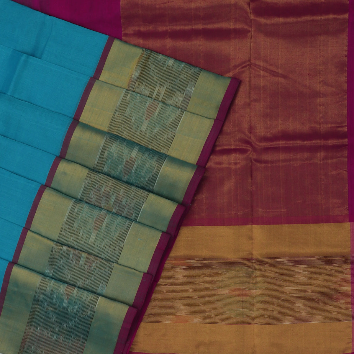 Silk Cotton Saree -Sky Blue and Pink with Ikkat border