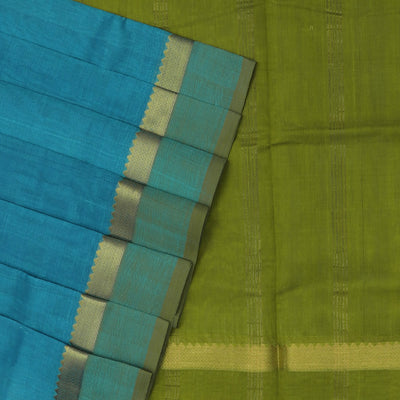 Silk Cotton Saree-Sky Blue and Mehandi Green with Temple Zari border