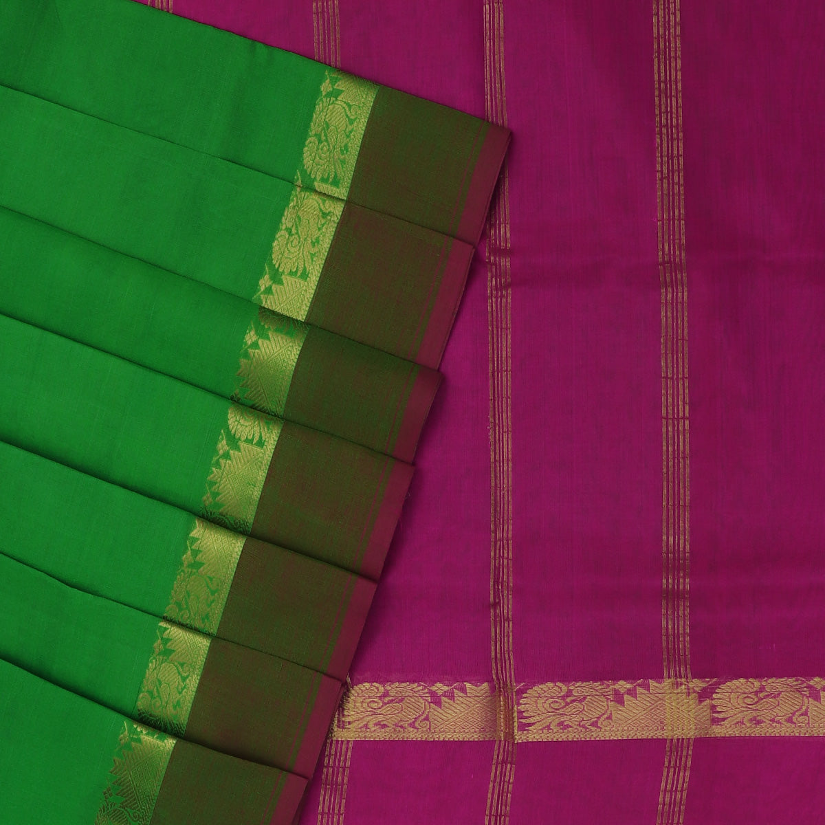 Silk Cotton Saree-Light Green and Pink with Annam Zari border