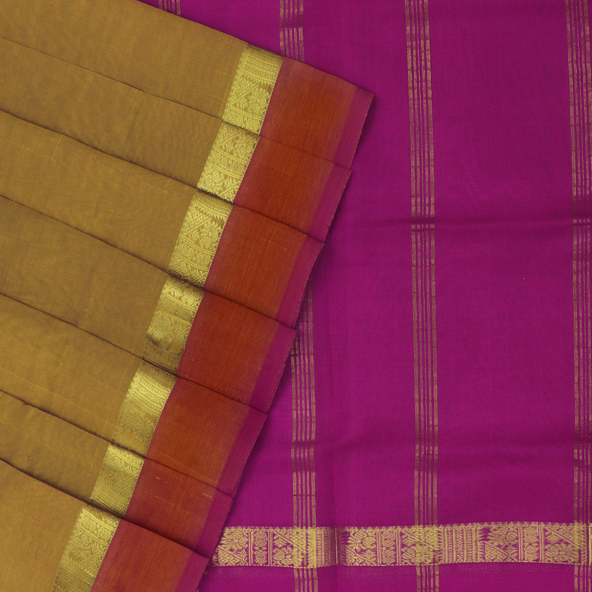 Silk Cotton Saree-Mustard and Pink with Simple Zari border