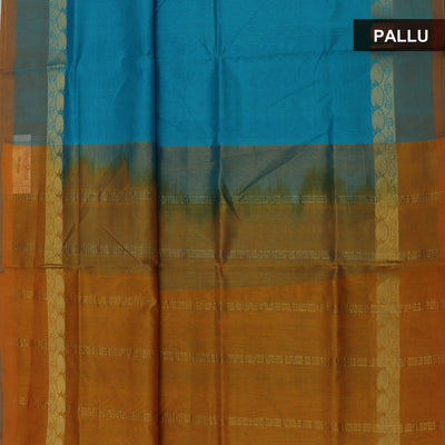 Silk Cotton Saree-Sky Blue and Mustard with Mango Zari border
