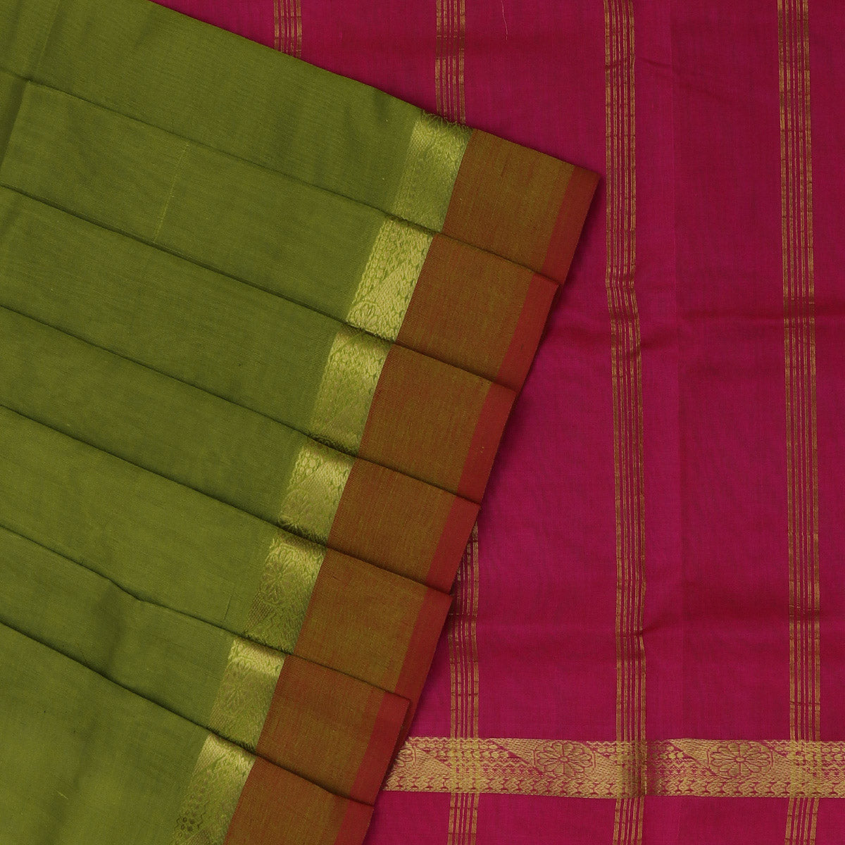 Silk Cotton Saree-Mehandi Green and Pink with Simple Zari border