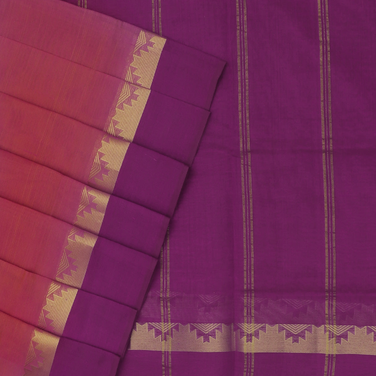 Silk Cotton Saree-Pink with Orange dual Shade and Violet with Temple Zari border