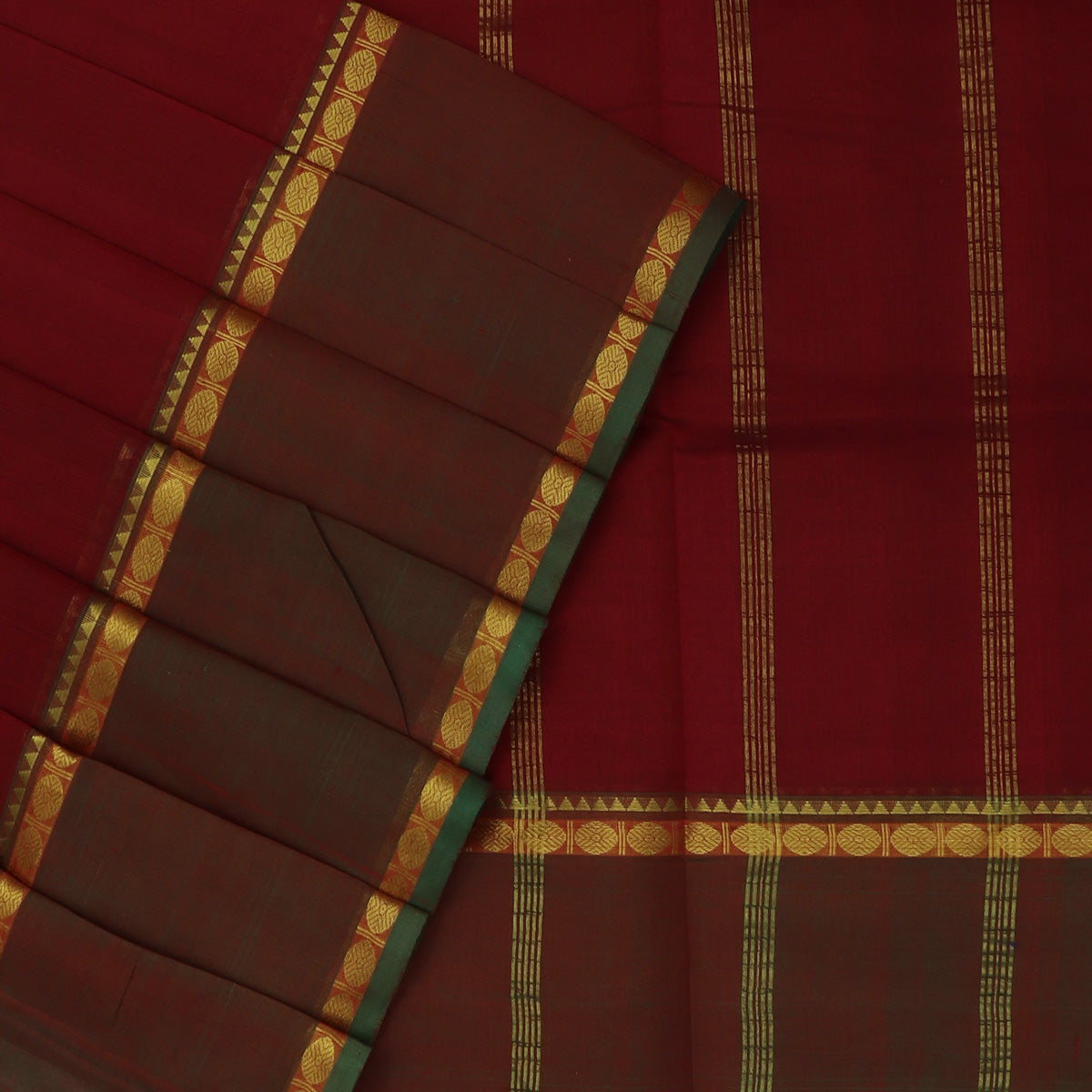 Silk Cotton Saree-Maroon with Rudraksha Zari border