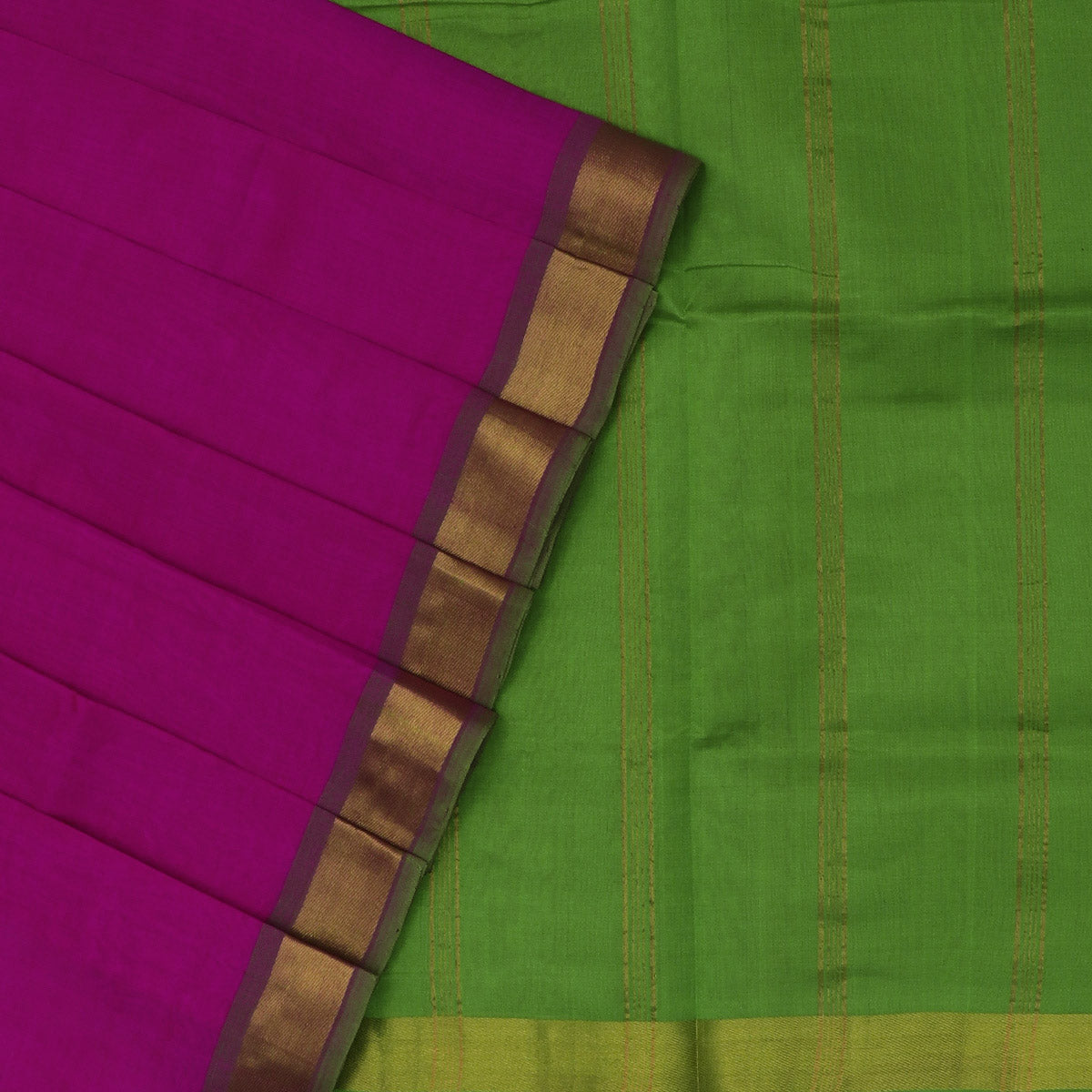 Silk Cotton Saree-Pink and Light Green with Simple border