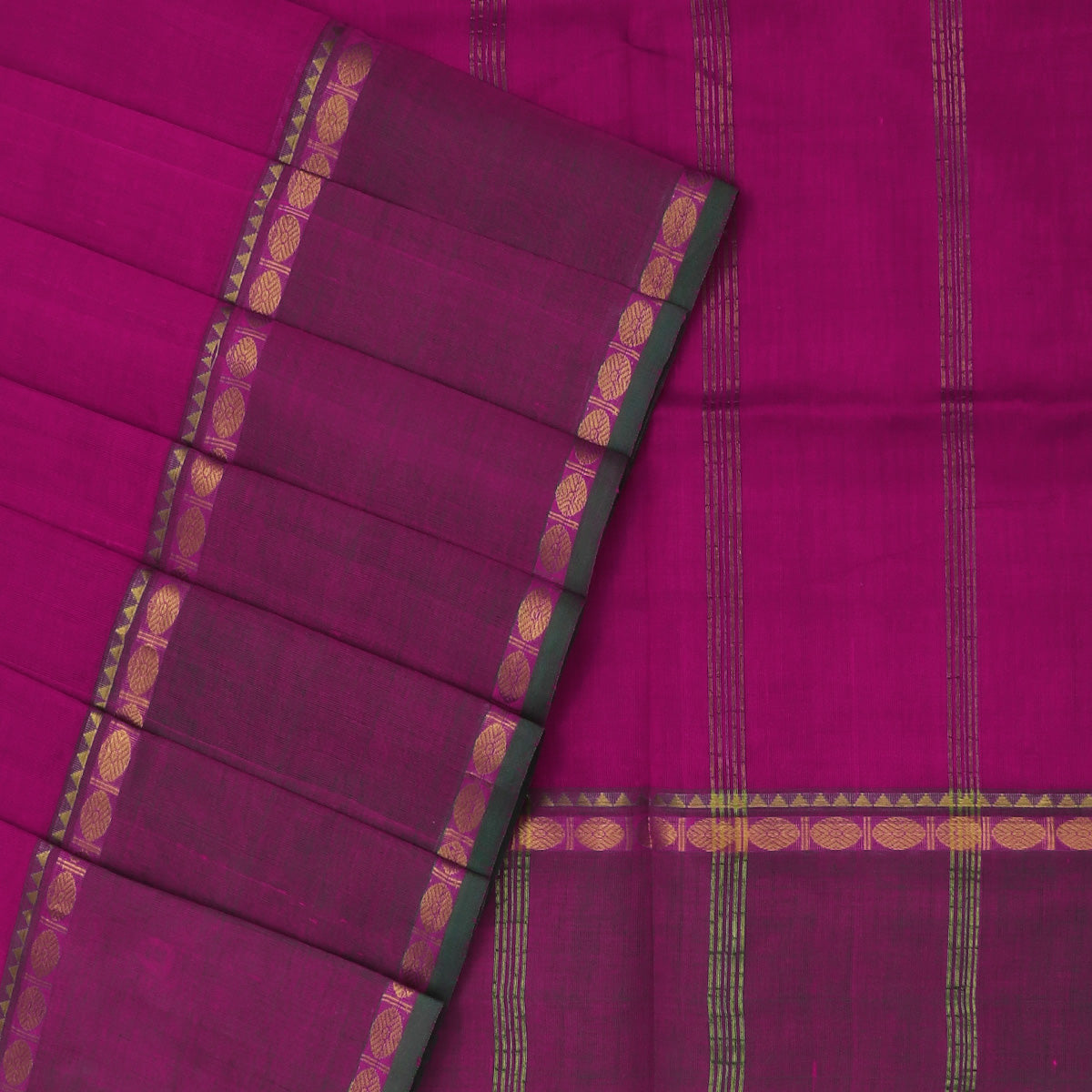 Silk Cotton Saree-Pink with Rudraksha zari border