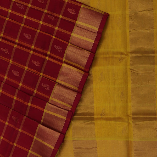 Silk Cotton Saree-Red and Yellow Checks with Butta and zari border