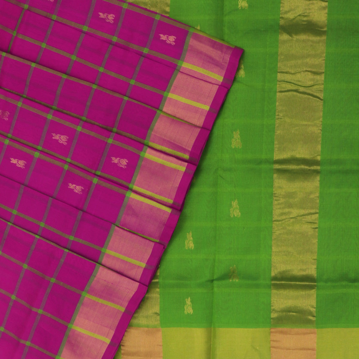 Silk Cotton Saree-Pink and Light Green Checks with Butta and zari border