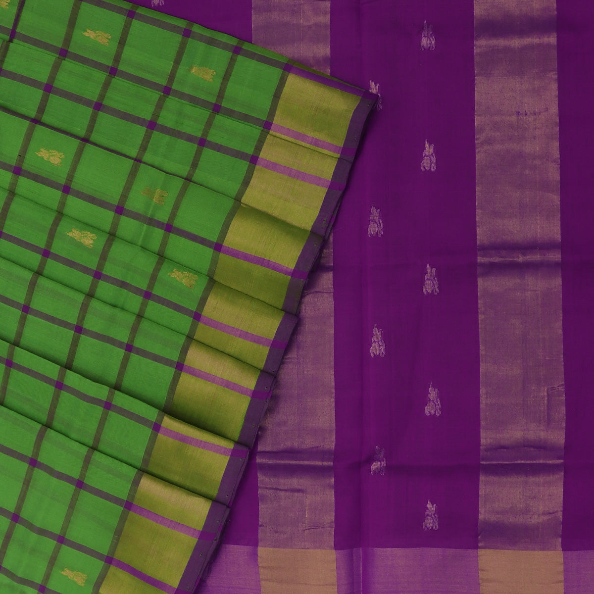 Silk Cotton Saree-Parrot Green and Violet Checks with Butta and zari border