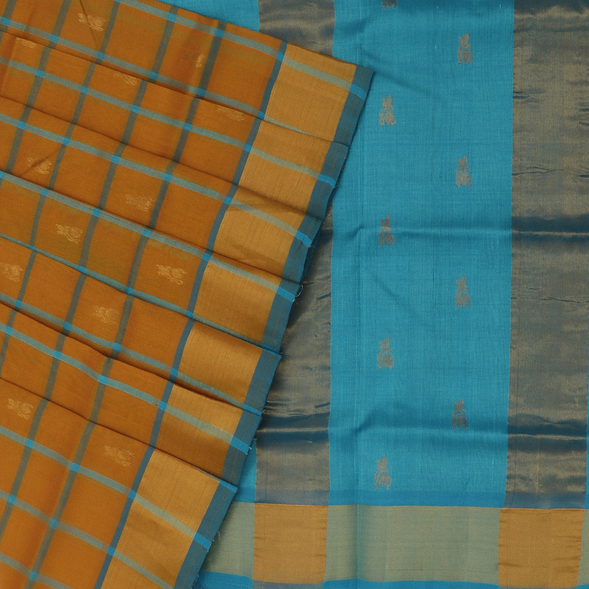Silk Cotton Saree-Mustard and Sky Blue Checks with Butta and zari border