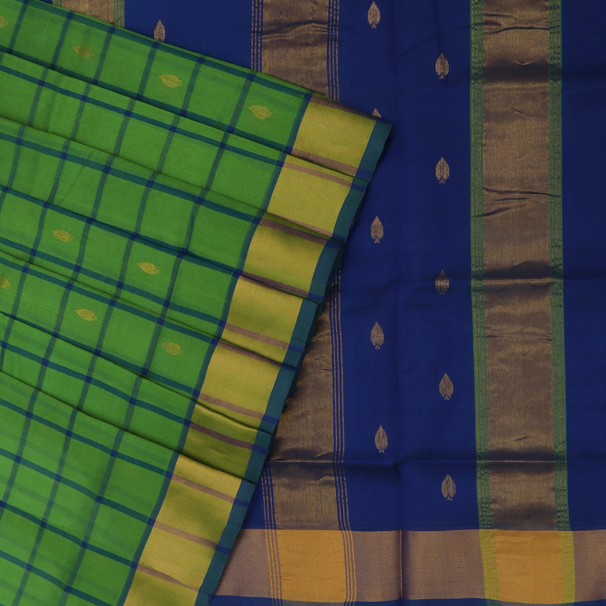 Silk Cotton Saree-Parrot Green and Blue Checks with Butta and zari border