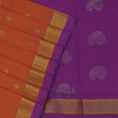 Silk Cotton Saree Orange and Violet with Butta and simple zari border 9 yards