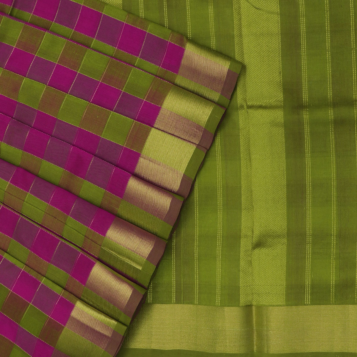 Silk Cotton Saree Pink and Mehandi Green checks with simple zari border 9 yards