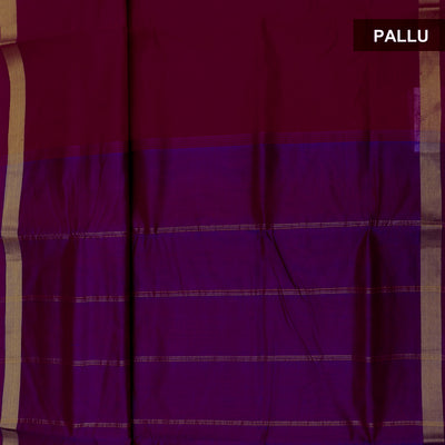 Silk Cotton Saree Red and Violet with Simple zari border 9 yards