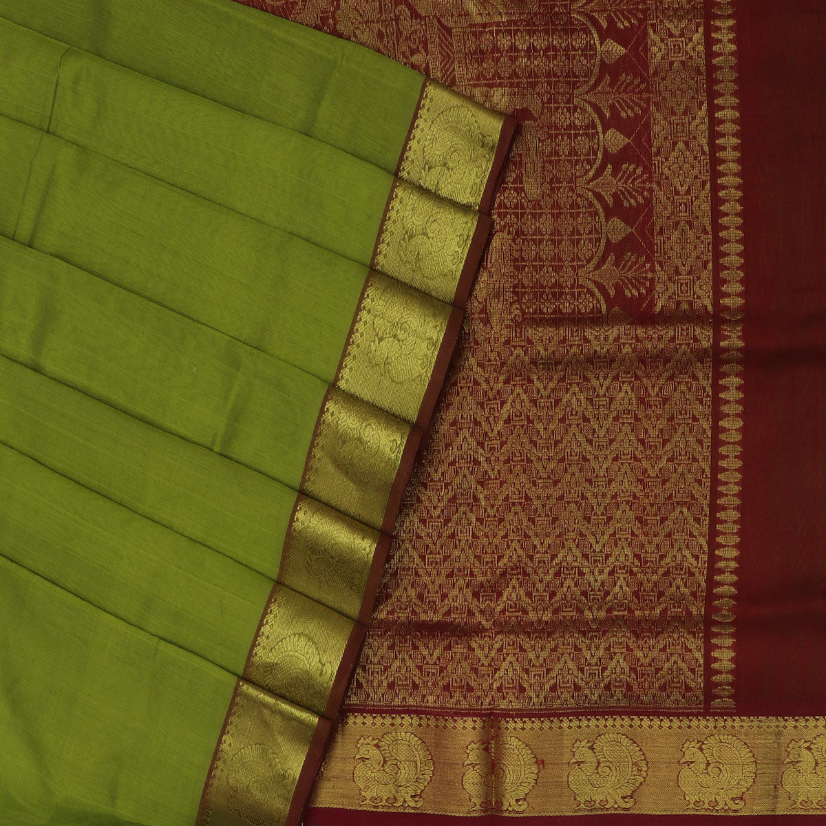 Silk Cotton Saree Mehandi Green and Maroon with Annam zari border 9 yards