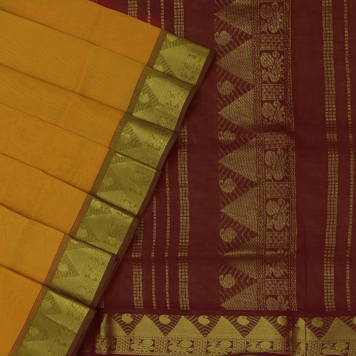 Silk Cotton Saree Yellow and Maroon with Temple zari border 9 yards