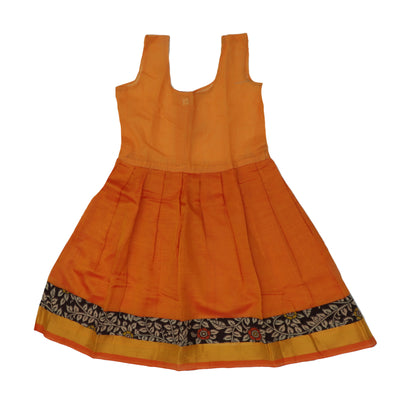Kalamkari Paavadai Sattai -Brown and Orange with zari border (2 years)