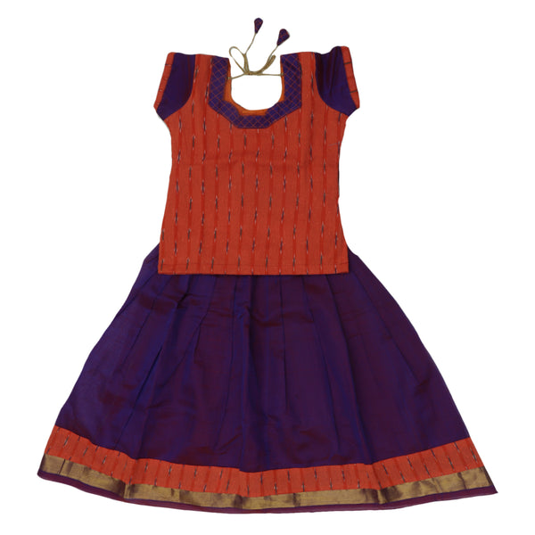 Ikkat Paavadai Sattai -Orange and Violet with zari border (5 years)