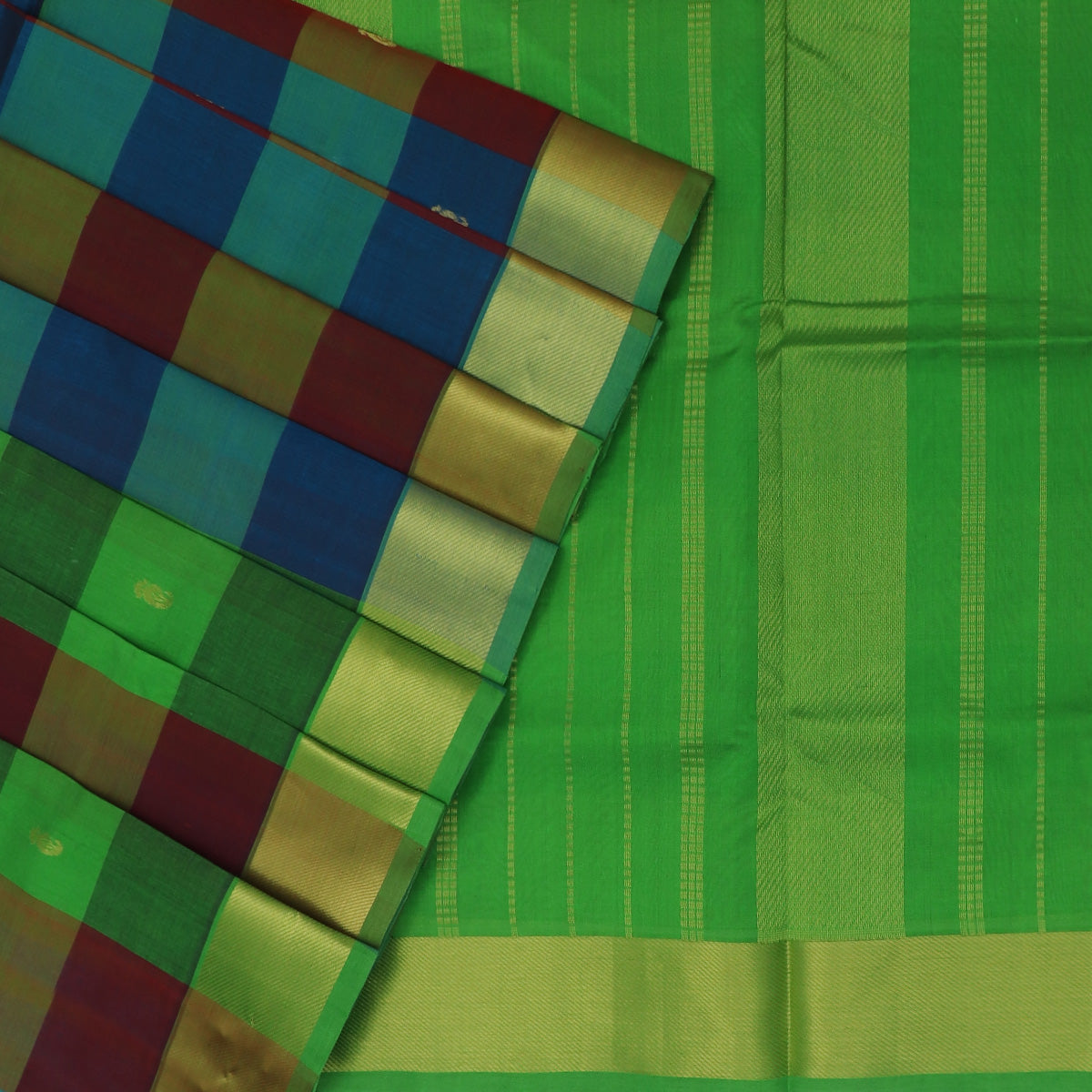 Silk Cotton Saree-Parrot Green and Peacock Blue Paalum pazham with butta and Bavanji zari border for Rs.Rs. 4030.00 | Silk Cotton Sarees by Prashanti Sarees