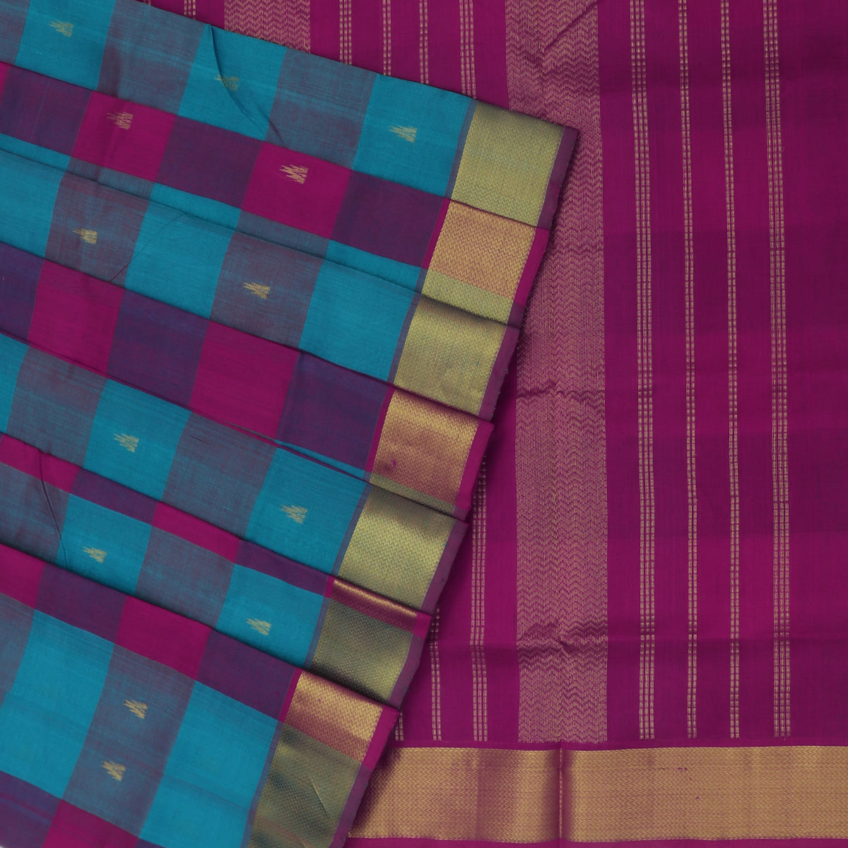 Silk Cotton Saree-Pink and Sky Blue Paalum pazham with butta and Wave zari border