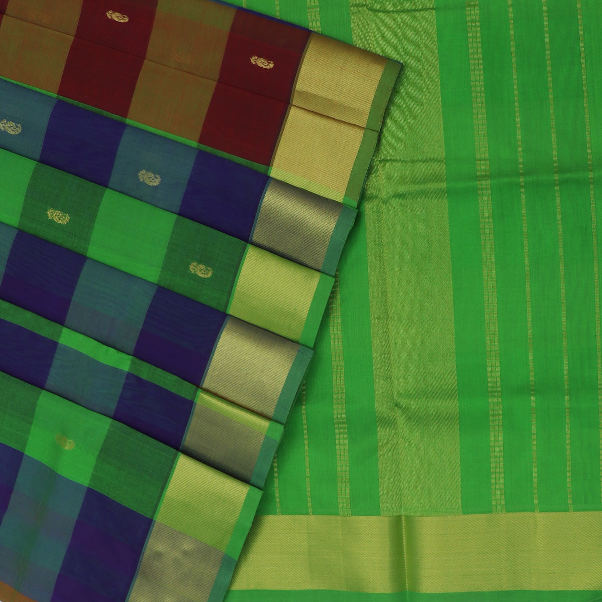 Silk Cotton Saree-Parrot Green and Blue Paalum pazham with butta and simple zari border