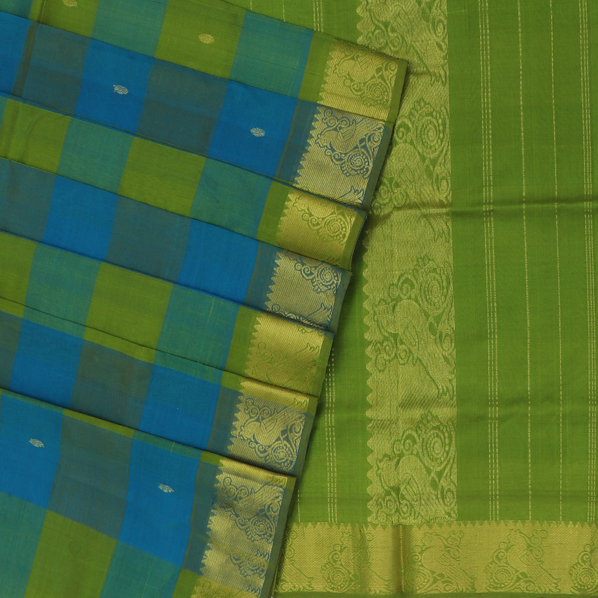 Silk Cotton Saree-Mehandi Green and Sky Blue Paalum pazham with butta and Parrot zari border