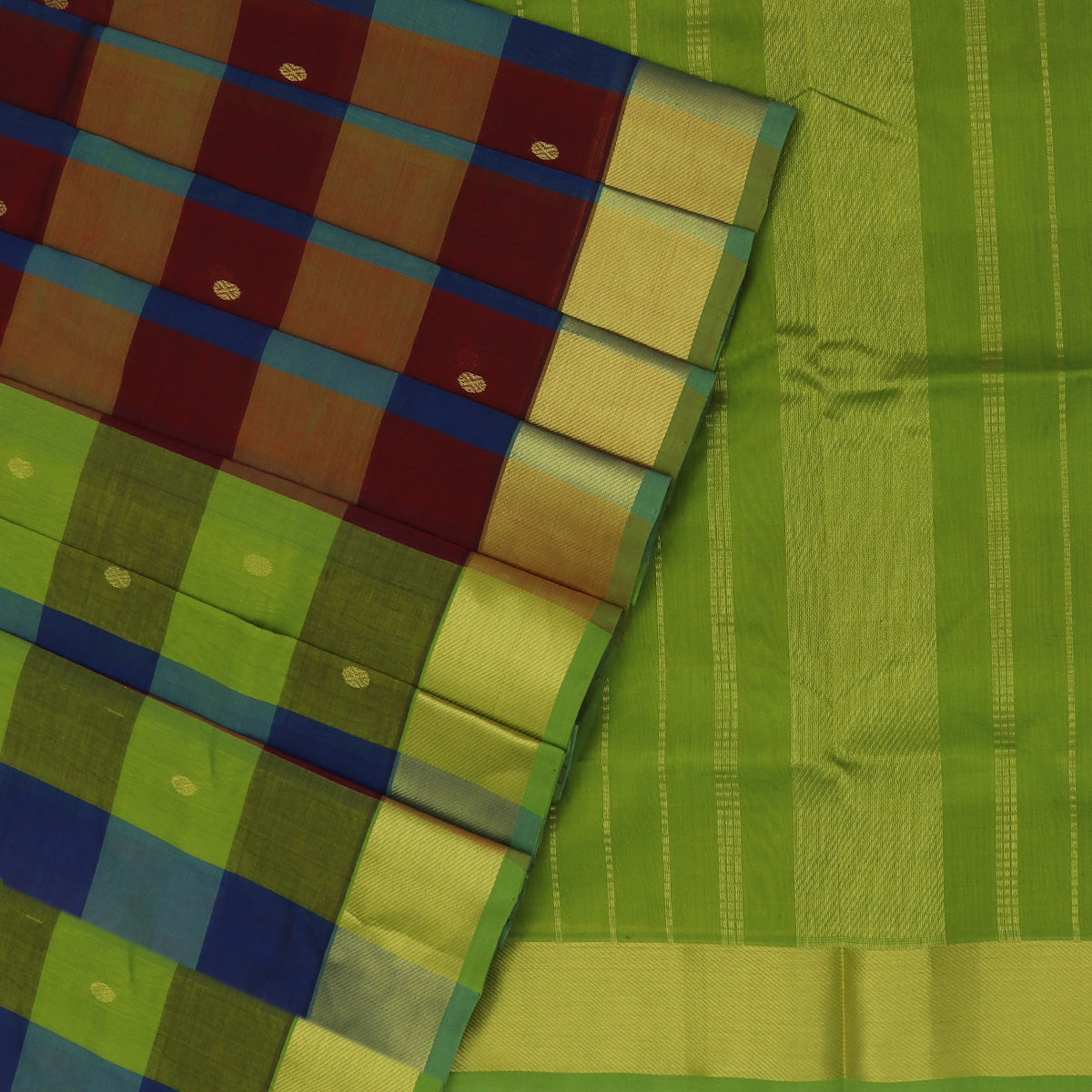 Silk Cotton Saree-Mehandi Green and Blue Paalum pazham with butta and Simple zari border