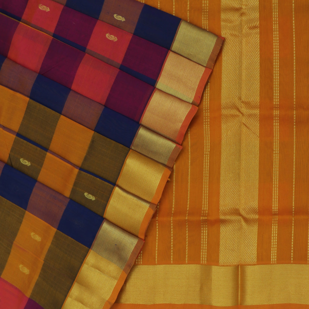 Silk Cotton Saree-Honey Color and Blue Paalum pazham with butta and Bavanji zari border